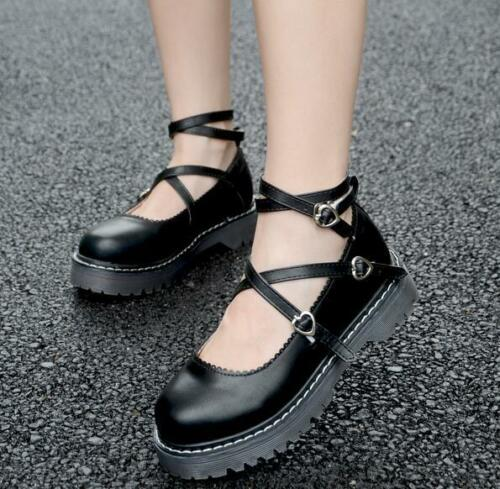 Women Round Toe Flat Mary Jane Lolita Princess College Soft Casual Strappy Shoes