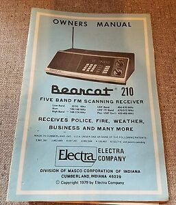 bearcat 210 owners manual radio scanner book bc 210 ebay rh ebay com Bearcat 210 User Manual bearcat 220 scanner manual