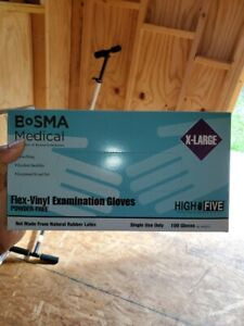 BoSMA-Medical-High-Five-Flex-Vinyl-Exam-Gloves-Powder-Free-Large-100-Gloves-NEW