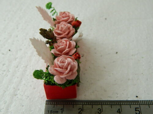 1//12th DOLLS HOUSE HANDMADE RED WOODEN WINDOW BOX WITH MIXED FLOWERS G6.15