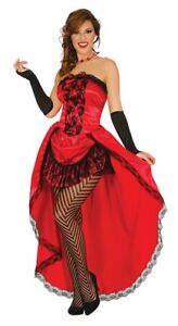 Red Can Can Fancy Dress Saloon Burlesque Show Girl Costume Moulin