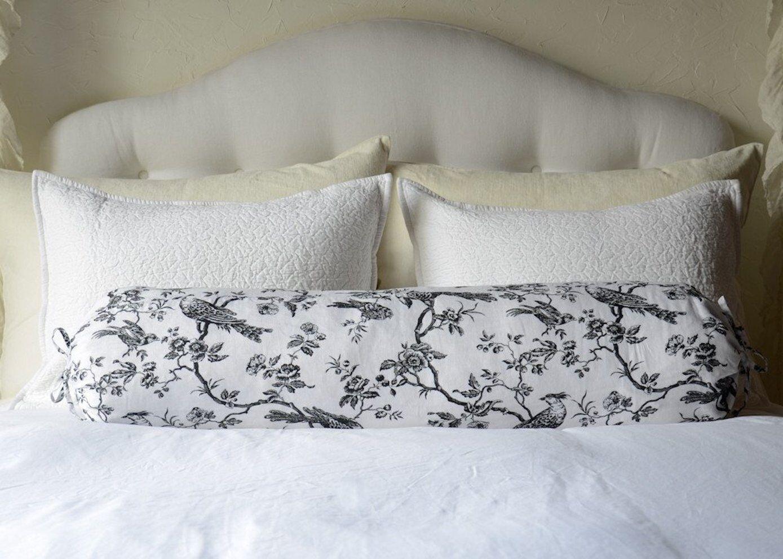 Bella Notte Bird Toile Linen Down Pillow 9  x 39  Bolster w  Self Ties WHITE NWT