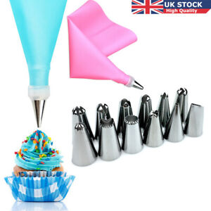 14-Pcs-Kit-Silicone-Icing-Piping-Cream-Pastry-Bag-12X-Stainless-Steel-Nozzle-UK