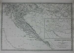 AUSTRIAN-DOMINIONS-III-CROATIA-DALMATIA-original-antique-map-SDUK-1844