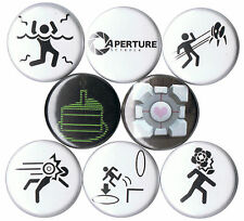 Portal 8 pins buttons badges companion cube cake game