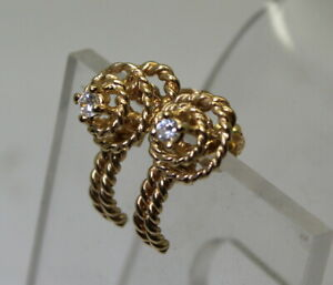 Unique-Estate-14K-Gold-Rope-Style-08-Ct-Solitaire-Diamond-Stick-Stud-Earrings