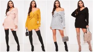Womens-Chunky-Knitted-Ladies-Knot-Twist-Front-Wrap-Over-Long-Baggy-Jumper-Dress