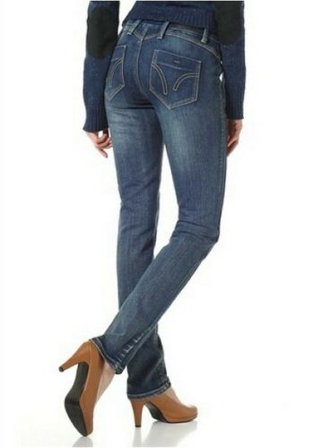4Wards Jeans NEU Gr.34-36 Damen Stretch Röhre Mid Blue Used Denim Hüft Hose L32