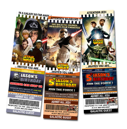 Star Wars The Clone Birthday Party Invitation Ticket First 1st C4 Custom Cards