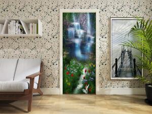 Self Adhesive3D Waterfall Fish Flower Living Room Door Murals Sticker Waterprov