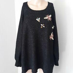 Loralette-by-Avenue-2X-Sweater-Embellished-Bees-Rhinestone-Grandma-Granny-Chic