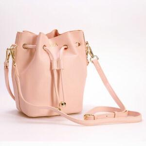 PERSONALISED-MONOGRAM-Women-039-s-Mini-Bucket-Bag-Vegan-Leather-in-Pale-Pink