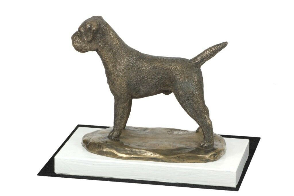 Border Terrier - figurine made of Bronze on the white wooden base, Art Dog