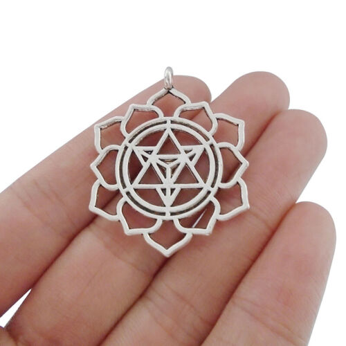 5pcs Antique Silver Tone Merkaba Meditation Charms Pendants Jewelry Findings