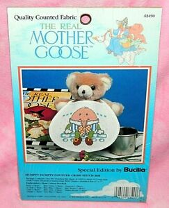 New-Bucilla-Special-Edition-Mother-Goose-Humpty-Dumpty-Cross-Stitch-Baby-Bib