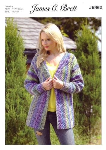 Marble Chunky Knitting Pattern femmes à manches longues Veste James Brett JB462