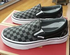 vans black and grey checkerboard slip ons