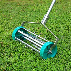 Garden Fields Rolling Grass Lawn Aerator Roller Spike Heavy Duty