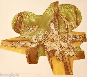 Judith Sharrin (b 1940) California Art Hand Colored Etching Gouache Mid Century