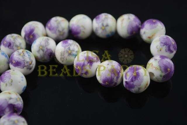 10pcs 12mm Round Ceramic Porcelain Loose Spacer Big Hole Beads Findings Purple