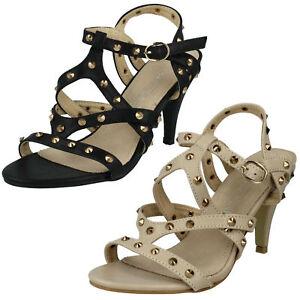 Spot On da donna borchie CINTURINO TACCO ALTO estate sandali da sera f10089
