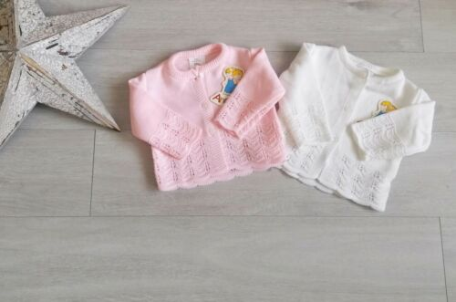 Baby Girls Long Sleeved Spanish Style Cardigan Pink or White 0-3 3-6 6-9 months