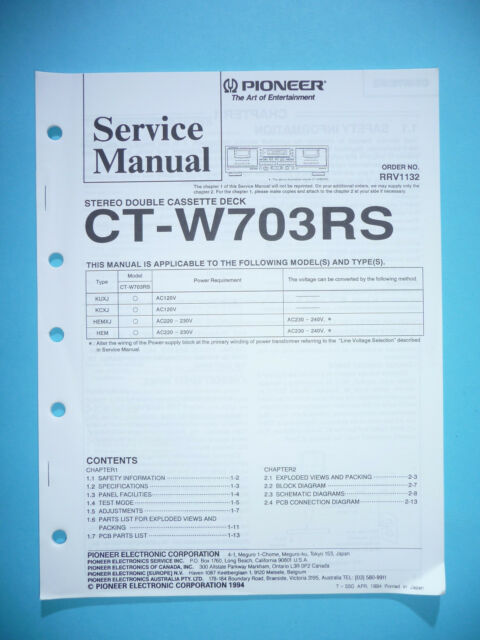 Service Manual for Pioneer CT-W703RS, Original
