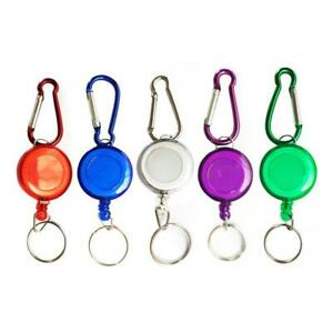 5X-Retractable-Key-Chain-Reel-Recoil-Pull-Badge-Reel-withKey-Ring-Rope-NEW