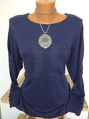 40//42 bis 44//46 blau mit Spitze Sheego Shirt Bluse Langarm Gr 639 NEU