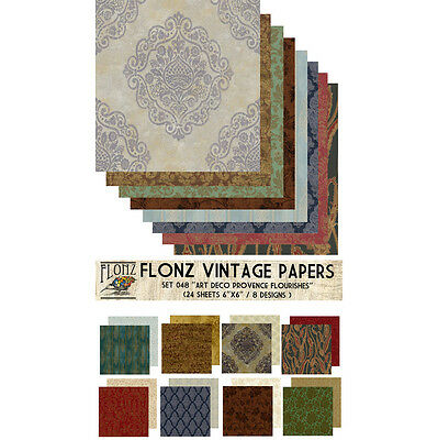 Decoupage Paper Pack 24 Sheets 6x6 Pallor FLONZ Vintage Styled Paper for Decoupage and Craft