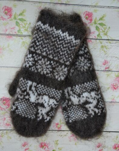 MITTENS homemade Russian 100/% goat down natural yarn fuzzy very soft warm craft