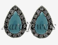 Victorian 0.56ct Rose Cut Diamond Turquoise Wedding Earrings Vintage VTJ EHS