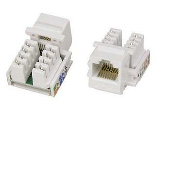 3 Pack Lot White CAT5e RJ45 110 Punch Down Keystone Modular Snap-In Jacks