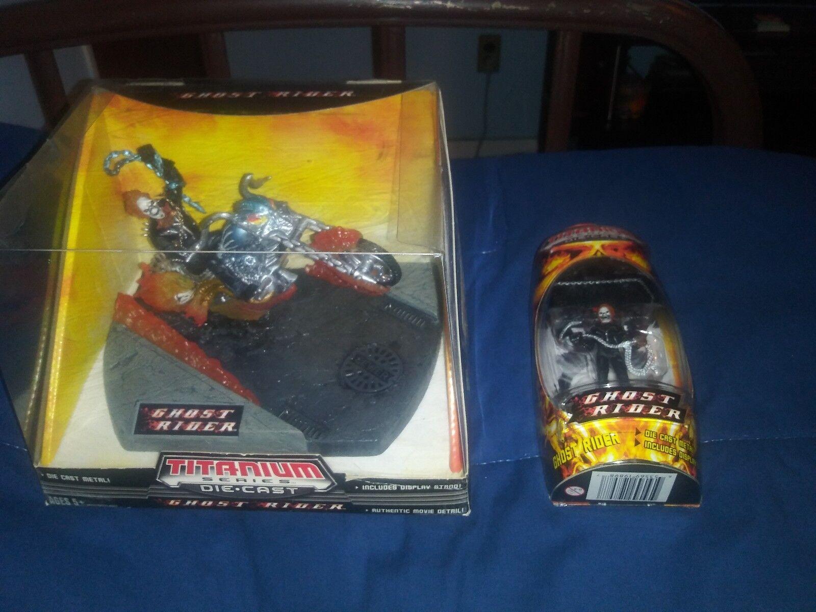 Ghost Rider w  Bike Titanium Series Die Cast Figures w  Stand