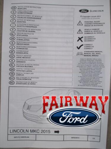 15 thru 19 Lincoln MKC OEM Genuine Ford Molded Splash Guards Mud Flaps Set of 4