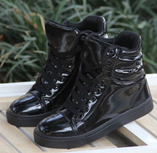 Femmes Bout rond plat lacets baskets High Top Cheville Bottes Chaussures De Sport Gothique