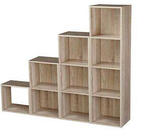 Wood Cube 2 3 4 Tier Sturdy Book Case Display Storage Shelving Unit Antique Oak Ebay