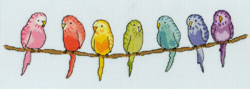 NEW 30x10cm XR09 BOTHY THREADS ROW OF BUDGIES COUNTED CROSS STITCH KIT