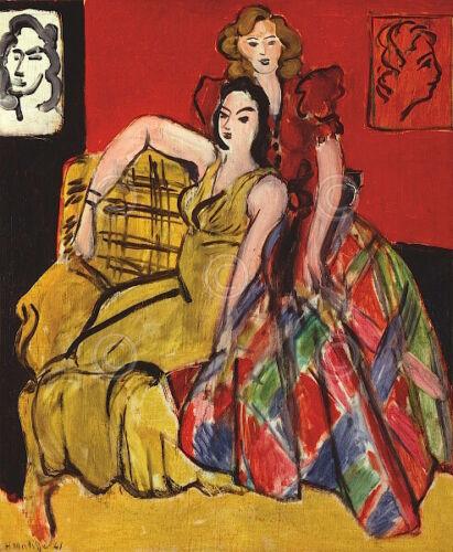 Two Young Women Yellow Dress and Scottish Dress Henri Matisse Print Poster 11x14