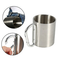 Portable 220ml Stainless Steel Camping Mug Hiking Sports Cup With Carabiner Hook