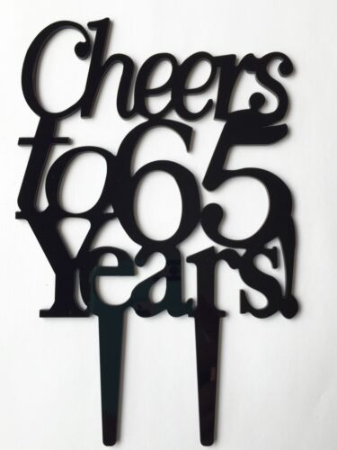 Cheers to 65 Years Birthday 65th Anniversary Cake Topper Party Decoration Sign
