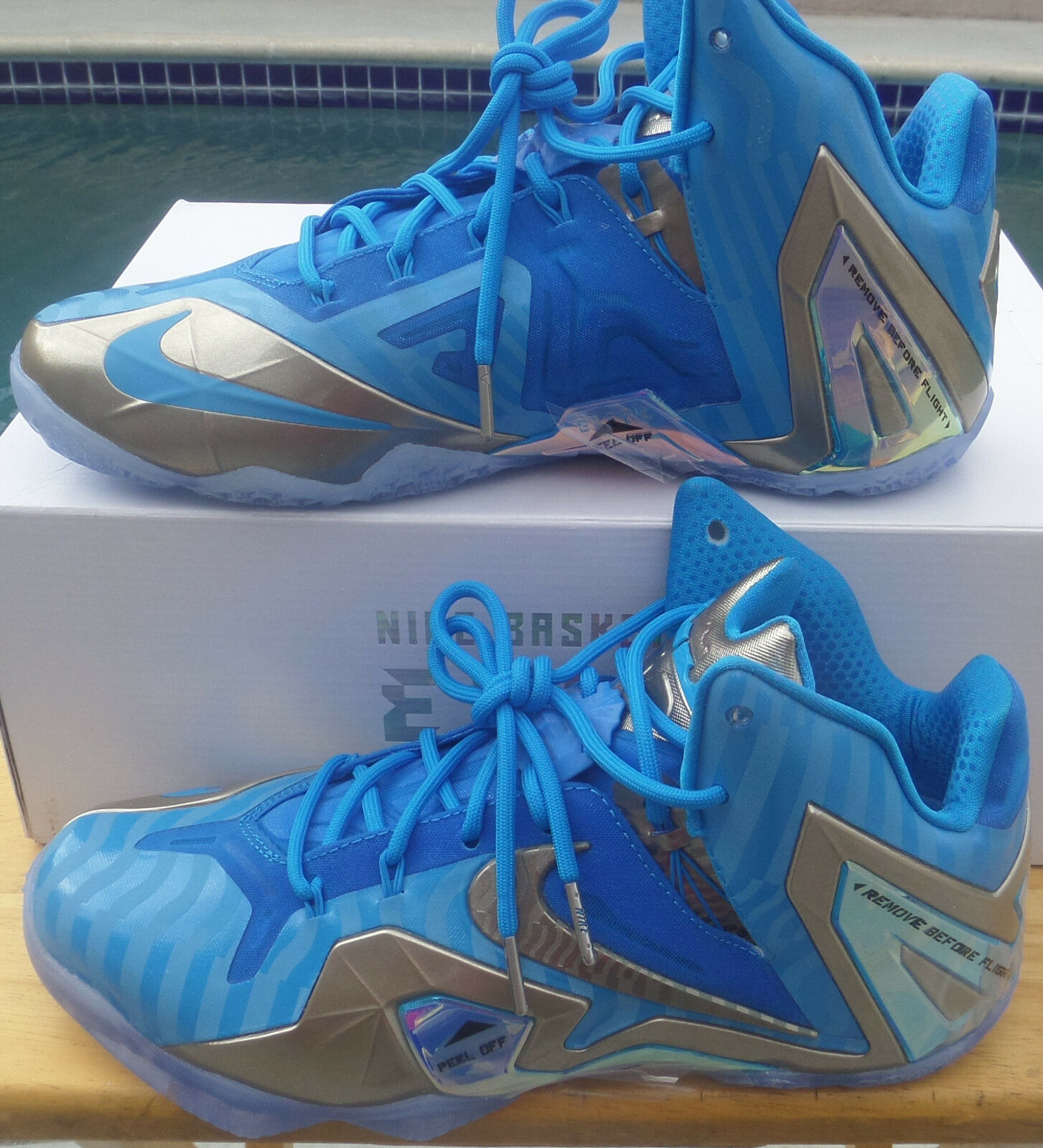 100%AUTHC: NIKE MEN'S SHOES LEBRON X1 ELITE COLLECT BLUE-HERO/METALLIC ZINC-ICE best-selling model of the brand