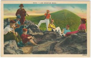 1941-Hip-Group-Playing-Music-on-North-Carolina-Mountaintop-Vintage-Postcard