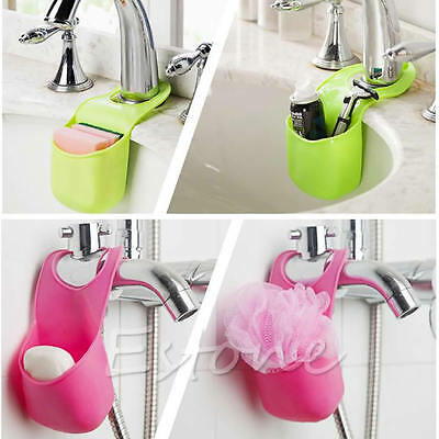 Kitchen Sink Sponge Hanging Shelving Rack Drain Faucet PVC Storage Pail Shelves