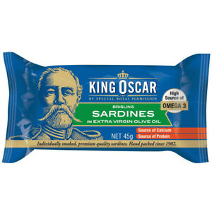 KING OSCAR SARDINES IN EXTRA VIRGIN OLIVE OIL HEALTHY CANNED GOODS FOOD 45g