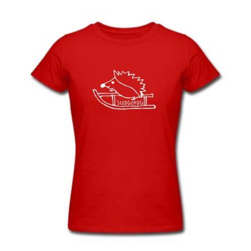 Ladies SLEDGEHOG Tshirt Funny Christmas Hedghog T Shirt Xmas Stocking Filler