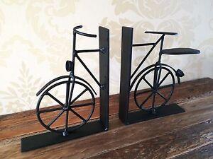 Vintage-Bicycle-Bookends-Black-Metal-Bike-Book-Divider-Ends-Shabby-Mens-Gift