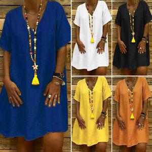 Women-Summer-Casual-Mini-Dress-Ladies-Short-Sleeve-Dress-Oversized-Loose-Shirt