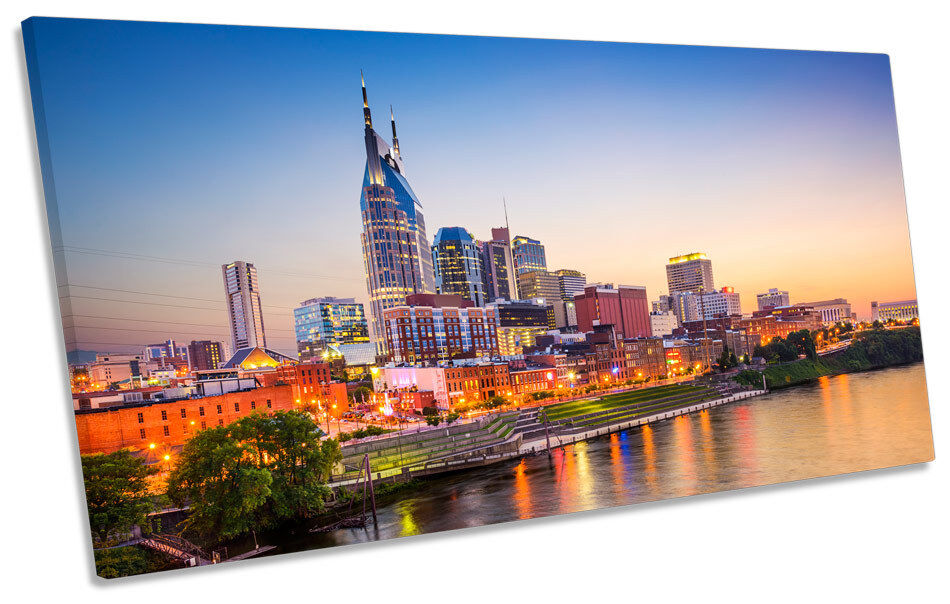 Nashville Tennessee City Skyline PANORAMIC BOX FRAME CANVAS ART Picture