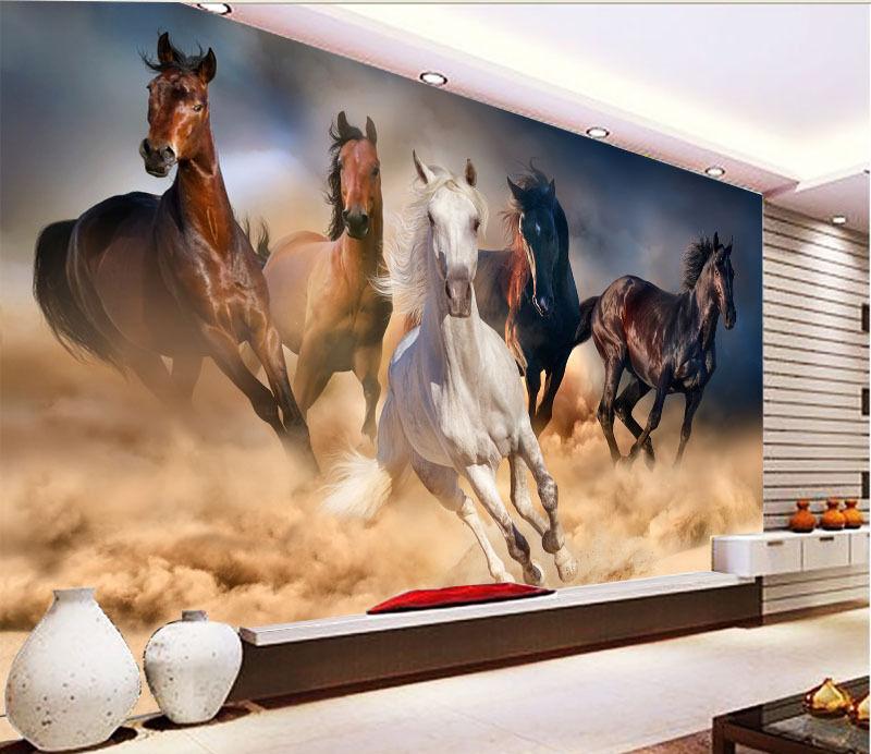 3D Galloping Horses 010 WallPaper Murals Wall Print Decal Wall Deco AJ WALLPAPER